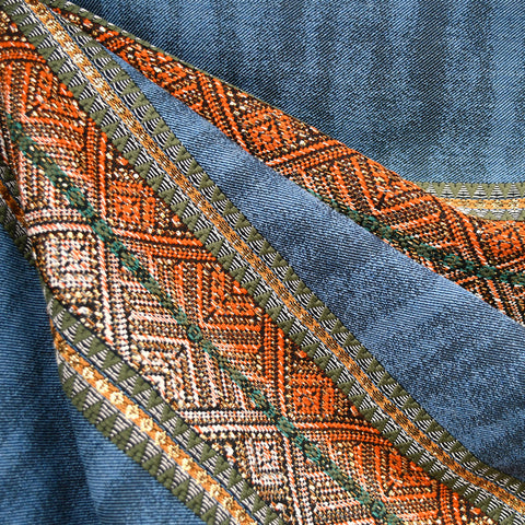 Southwest Geometric Stripe Textured Woven Denim/Rust/Gold