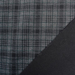Plaid Printed Designer Ponte Knit Charcoal/Hunter - Fabric - Style Maker Fabrics