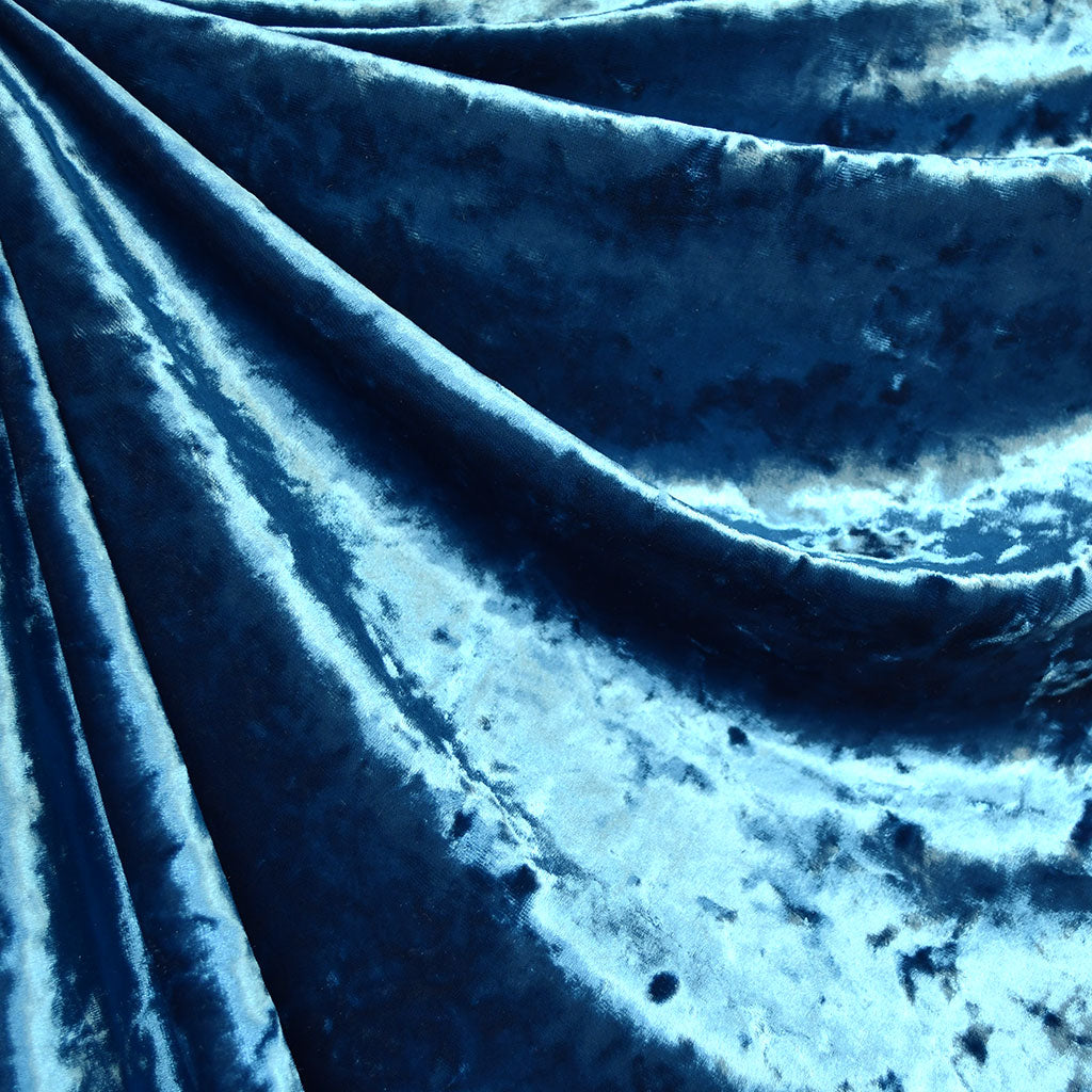 Stretch Panne Velvet Solid Ocean - Fabric - Style Maker Fabrics