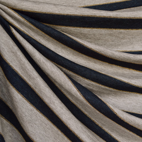 Metallic Wide Stripe Rayon Jersey Oatmeal/Navy/Gold