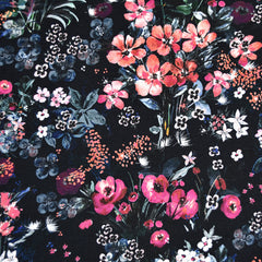 Artistic Watercolor Floral Digital Print Rayon Jersey Black - Fabric - Style Maker Fabrics