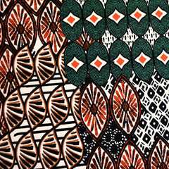 Large Scale Tribal Geometric  ITY Knit Rust/Emerald - Fabric - Style Maker Fabrics