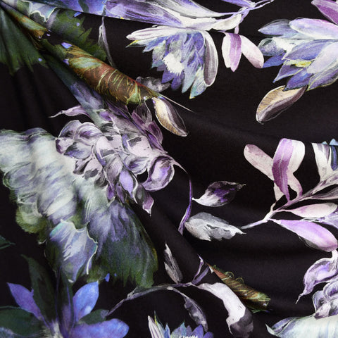 Midnight Garden Floral Digital Print Rayon Jersey Black/Orchid