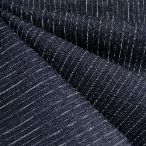 Mid Weight Woven Stripe Texture Denim Indigo
