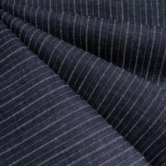 Mid Weight Woven Stripe Texture Denim Indigo - Fabric - Style Maker Fabrics