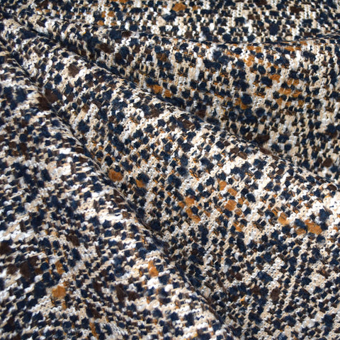 Chevron Boucle Wool Blend Coating Beige/Navy/Mustard