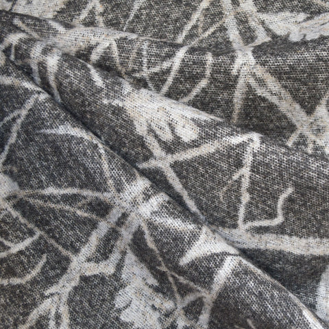 Falling Leaves Jacquard Wool Blend Coating Charcoal/Taupe