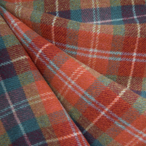 Autumn Plaid Wool Blend Coating Rust