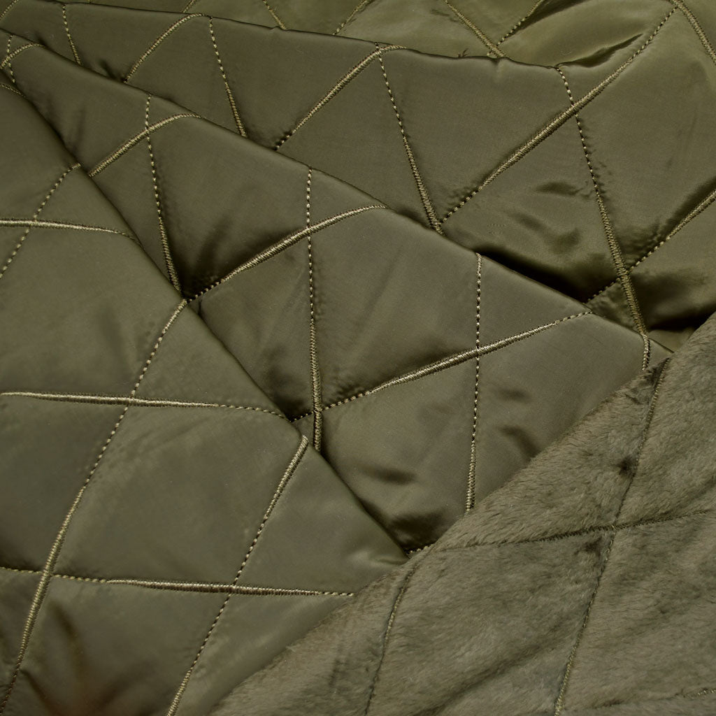 Cozy Quilted Reversible Nylon/Sherpa Coating Olive - Fabric - Style Maker Fabrics