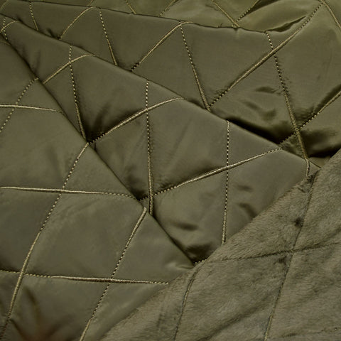 Cozy Quilted Reversible Nylon/Sherpa Coating Olive