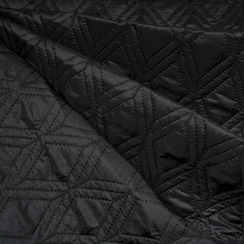 Plush Diamond Quilted Nylon Coating Black