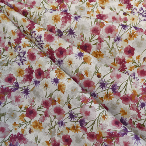 Japanese Watercolor Floral Cotton Lawn Natural/Wine