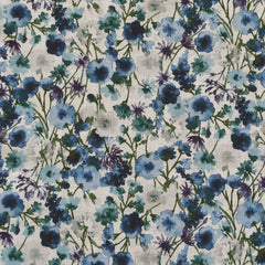 Japanese Watercolor Floral Cotton Lawn Natural/Blue SY - Sold Out - Style Maker Fabrics