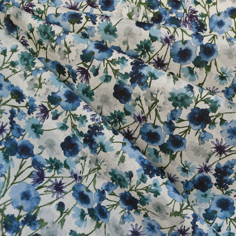 Japanese Watercolor Floral Cotton Lawn Natural/Blue