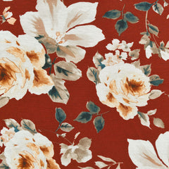 Watercolor Rose Floral Rayon Jersey Rust/Beige - Fabric - Style Maker Fabrics