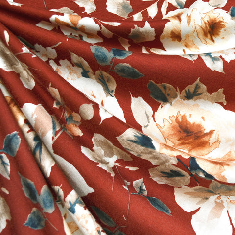 Watercolor Rose Floral Rayon Jersey Rust/Beige