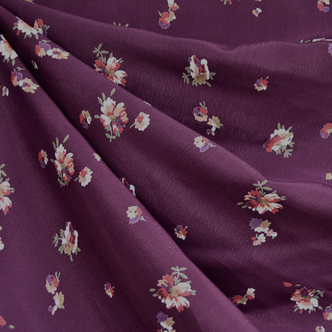 Autumn Bouquet Rayon Crepe Plum