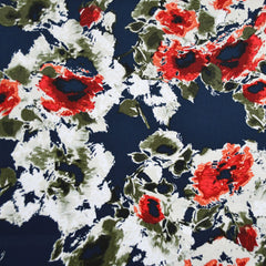 Abstract Floral Stretch Sateen Navy/Red - Fabric - Style Maker Fabrics