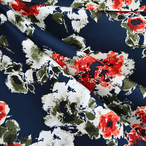 Abstract Floral Stretch Sateen Navy/Red