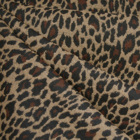 Animal Print Jacquard Wool Blend Coating Camel