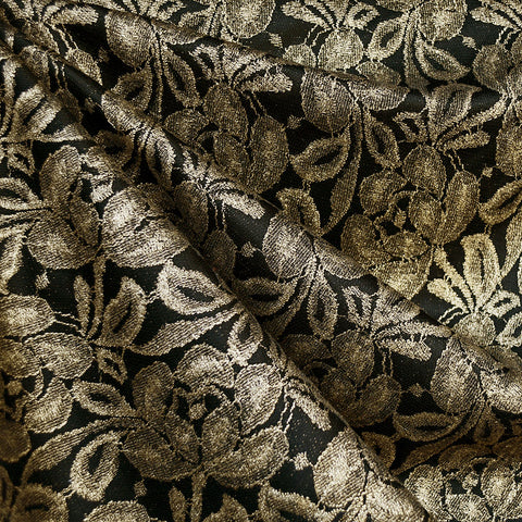 Metallic Floral Lace Overlay Knit Black/Gold