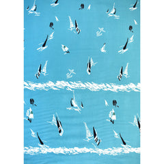 Single Border Sketch Sailboat Rayon Challis Aqua - Fabric - Style Maker Fabrics