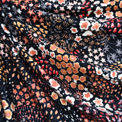 Autumn Wild Flowers Rayon Jersey Knit Black/Rust - Sold Out - Style Maker Fabrics