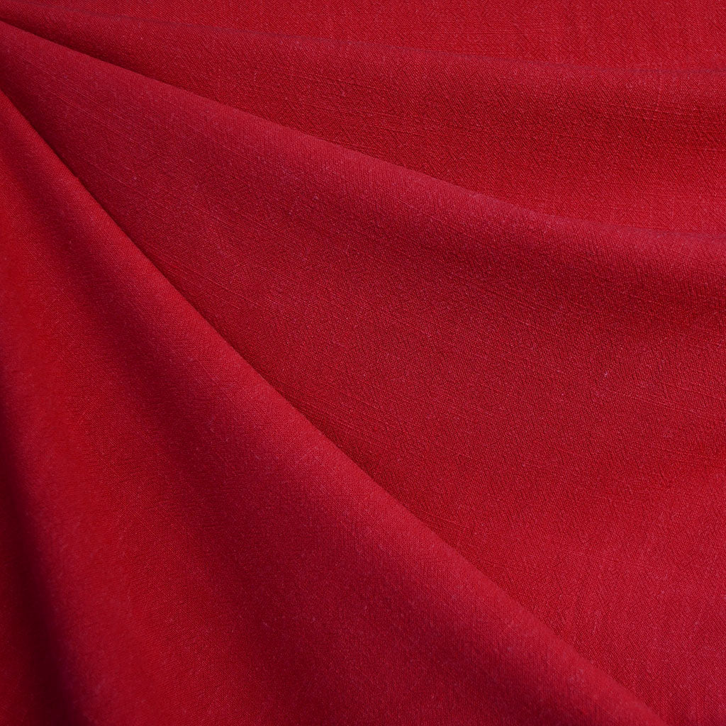 Slub Texture Linen Blend Solid Ruby - Fabric - Style Maker Fabrics