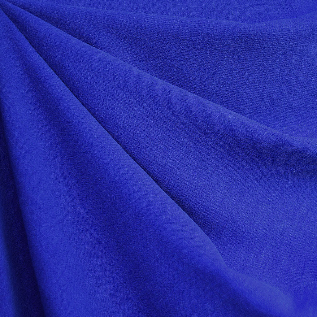 Slub Texture Linen Blend Solid Royal - Fabric - Style Maker Fabrics