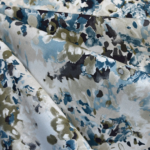 Watercolor Floral Linen Blend Shirting Blue