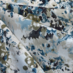 Watercolor Floral Linen Blend Shirting Blue - Sold Out - Style Maker Fabrics
