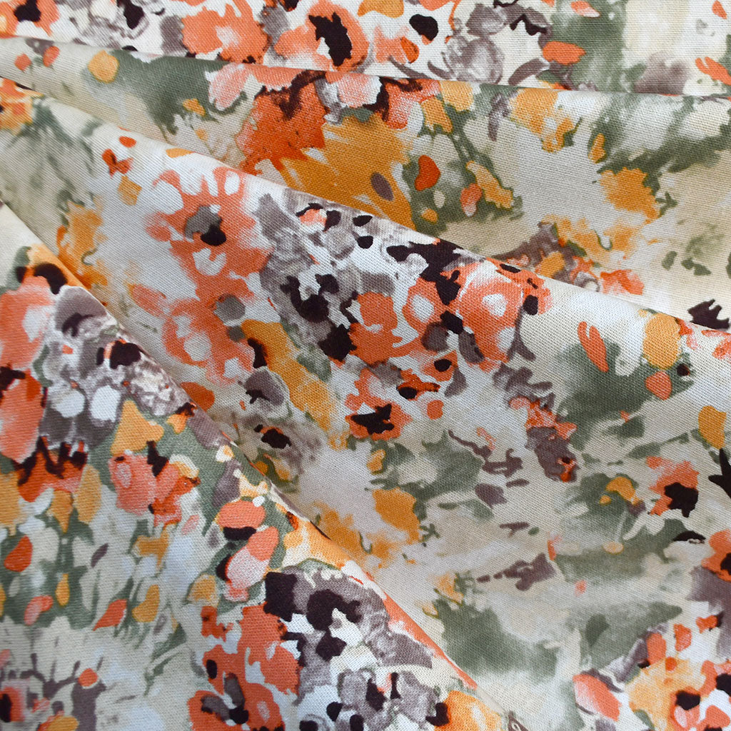 Watercolor Floral Linen Blend Shirting Coral - Fabric - Style Maker Fabrics