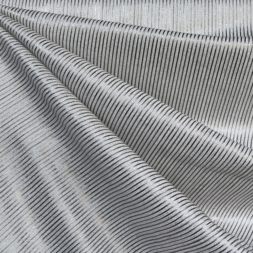Metallic Mini Stripe Rib Jersey Knit White/Silver - Fabric - Style Maker Fabrics
