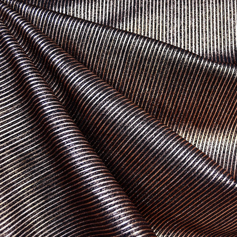 Metallic Mini Stripe Rib Jersey Knit Black/Copper—Preorder