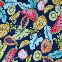 Designer Tropical Fruit Medley Rayon Challis Navy/Multi - Fabric - Style Maker Fabrics