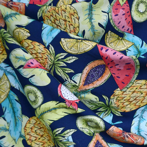 Designer Tropical Fruit Medley Rayon Challis Navy/Multi
