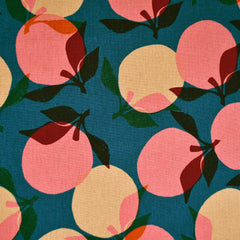Ruby Star Layered Peaches Canvas Teal - Fabric - Style Maker Fabrics
