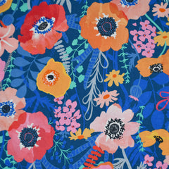 Botanica Poppy Floral Rayon Royal/Multi - Sold Out - Style Maker Fabrics