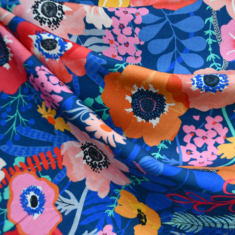 Botanica Poppy Floral Rayon Royal/Multi