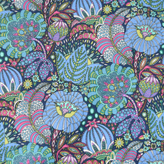 Fantasy Illustrated Floral Cotton Lawn Navy - Fabric - Style Maker Fabrics