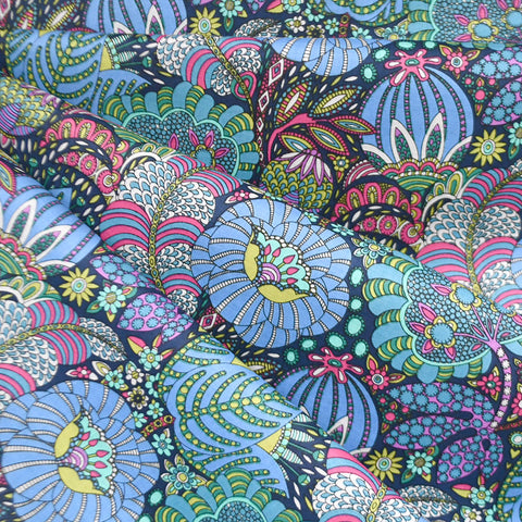 Fantasy Illustrated Floral Cotton Lawn Navy