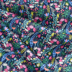 Fantasy Garden Floral Cotton Lawn Navy - Fabric - Style Maker Fabrics