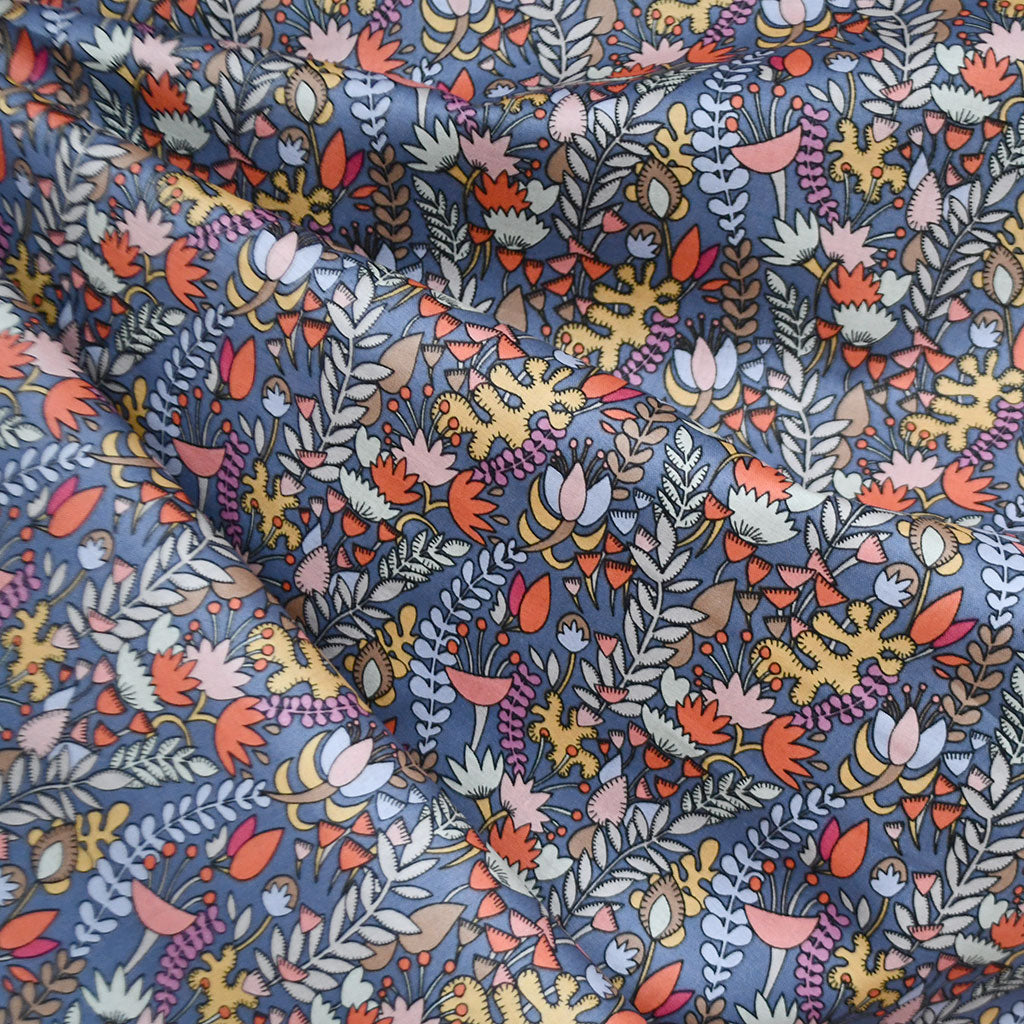 Fantasy Garden Floral Cotton Lawn Pewter - Fabric - Style Maker Fabrics