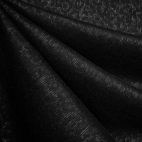 Italian Shadow Texture Wool Blend Coating Black