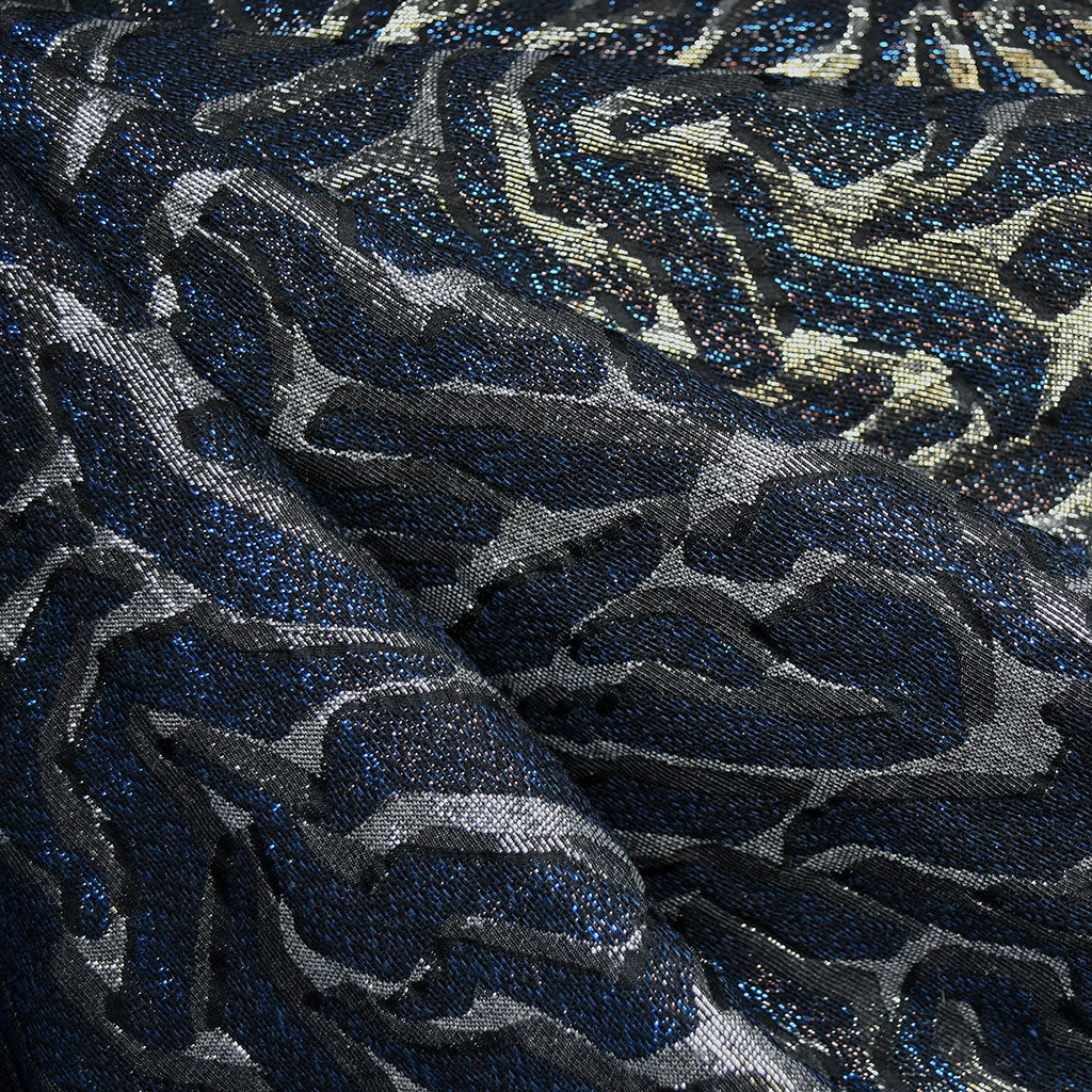 Animal Print Metallic Brocade Black/Royal - Fabric - Style Maker Fabrics