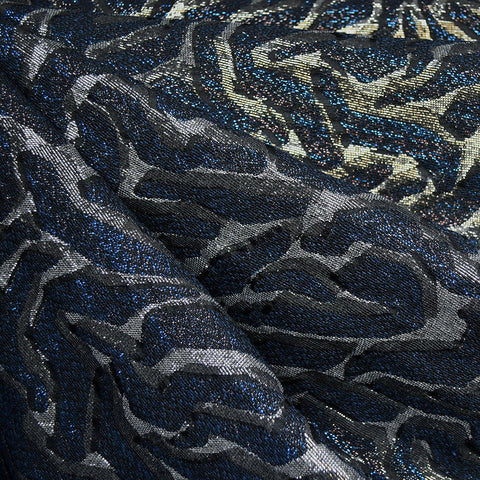 Animal Print Metallic Brocade Black/Royal