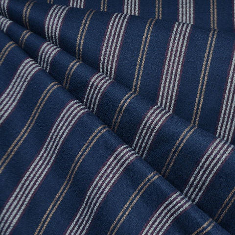 Autumn Stripe Rayon Crepe Navy/Burgundy