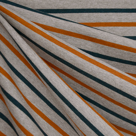 Wide Harvest Stripe Jersey Knit Oatmeal/Turmeric/Teal