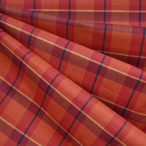 Autumn Plaid Cotton Shirting Rust/Red