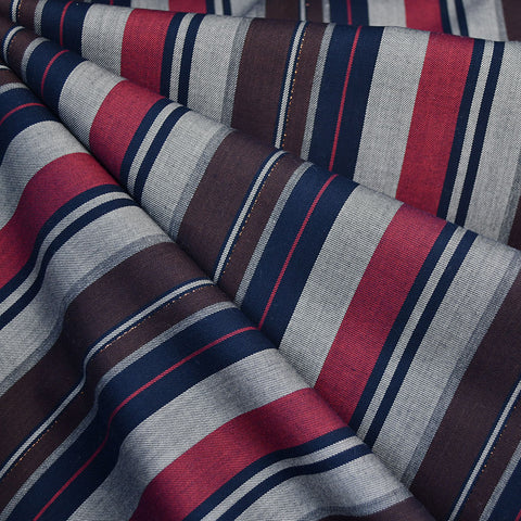 Night Out Stripe Rayon Shirting Navy/Burgundy/Metallic